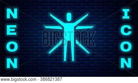 Glowing Neon Vitruvian Man By Leonardo Da Vinci Icon Isolated On Brick Wall Background. Human Anatom
