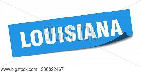 Louisiana Sticker. Louisiana Blue Square Peeler Sign