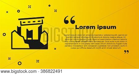 Black Ancient Ruins Icon Isolated On Yellow Background. Vector
