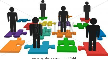 Symbol People Stand On Jigsaw Puzzle Pieces