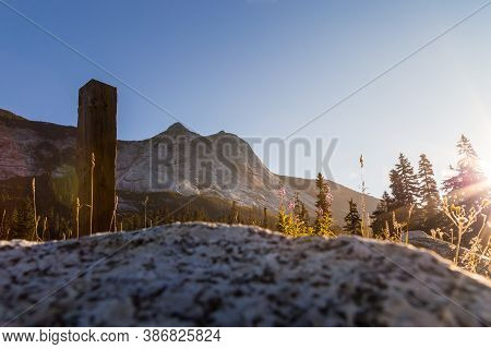 Rugged Mountain Peak And Evergreen Forest In British Columbia.