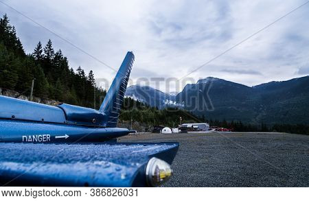 An H125 Helicopter At The Green Lake Heliport In Whistler, Bc.