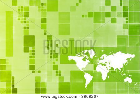 Green World Wide Business Template Abstract Background poster