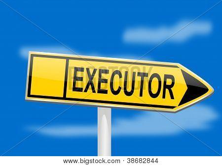 direktionale Board mit Indikator Testamentsvollstrecker