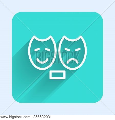 White Line Comedy And Tragedy Theatrical Masks Icon Isolated With Long Shadow. Green Square Button.