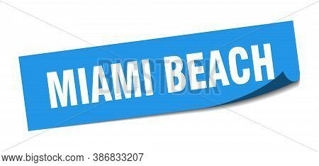 Miami Beach Sticker. Miami Beach Blue Square Peeler Sign