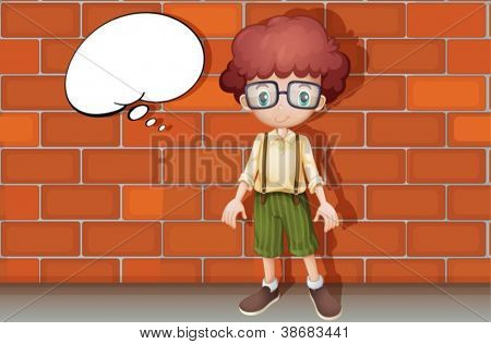 illustration of a boy standing in front of a wall