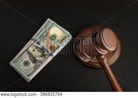Wooden Judges Gavel And Bundles Of Dollars. Corrupt Court. Bribery In Legislation.
