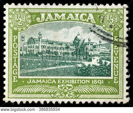 Luga, Russia - April 10, 2020: A Stamp Printed By Jamaica Shows View Of  Jamaica International Exhib