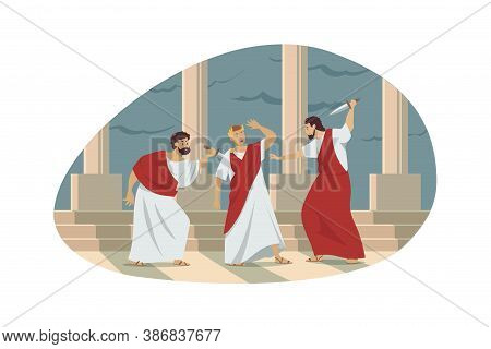 Rome, History, Conspiracy, Assassination Concept. Ancient Roman Historical Event Illustration. Group
