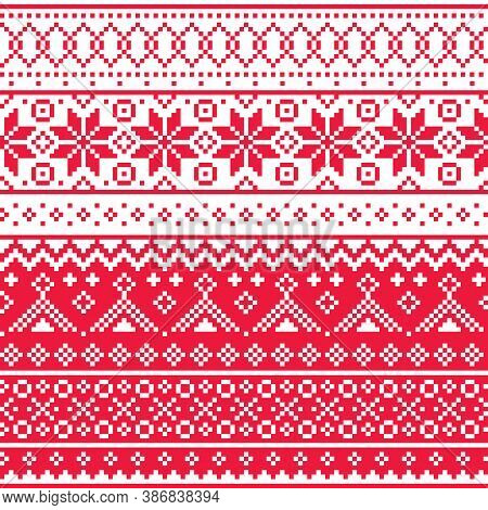 Christmas Fair Isle Style Traditional Knitwear Vector Seamless Pattern, Shetlands Red Knit Repetitiv