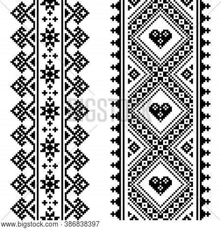 Traditional Ukrainian And Belarusian Folk Art Vector Pattern - Vertical Seamless Cross-stitch Design