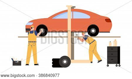 Technicians Team Working In Car Service And Repair Scene