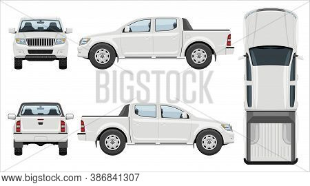 White Pickup Truck Vector Template With Simple Colors Without Gradients And Effects. View From Side,