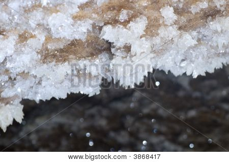 Crystals of gypsum deep in cave in Ukraine poster
