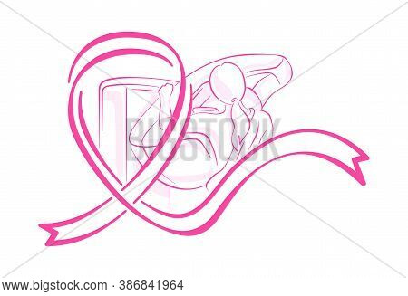 Breast Cancer Awareness Month - Drawn Mammogram Diagnostics And Pink Ribbon - Symbol Of Fight With D