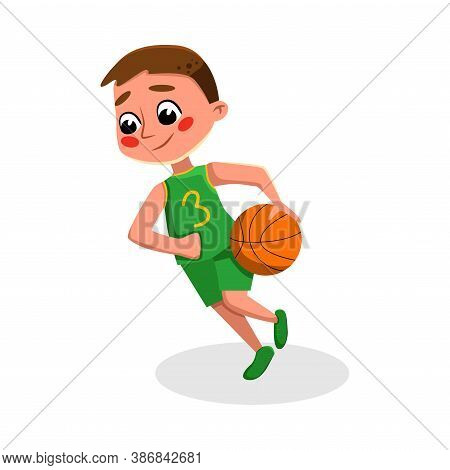 Boy Playing Basketball, Kid Practicing Sports Game, Doing Physical Exercise, Active Healthy Lifestyl