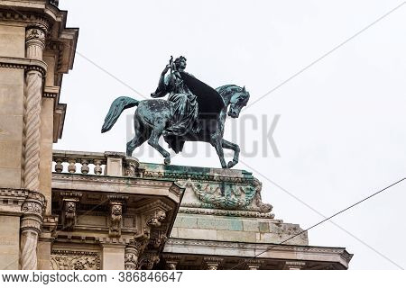 Vienna, Austria - May 15, 2019: This Is A Sculpture Of The Muse Of Poetry On The Winged Horse Erato