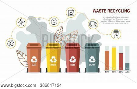Set Of Garbage Sorting Bins. Waste Recycling Concept. Infographic
