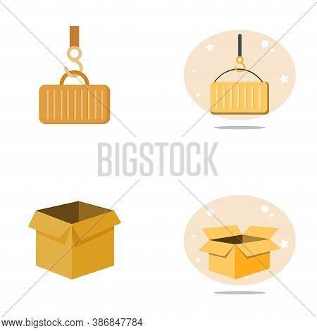 Delivering Flat Icon Set With Open Box, Delivering Container