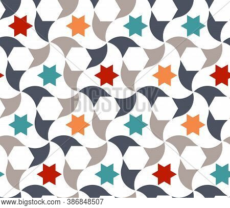 Geometric Arabic Stars Pattern. Arabic Vector Texture, Pattern With Stars For Cloth, Textile, Wrappi