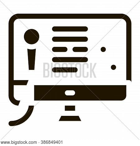 Computer Screen Internet Online Karaoke Glyph Icon . Microphone And Dynamic, Concert And Theater, Op