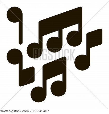 Melody Music Mono And Treble Notes Glyph Icon . Microphone And Dynamic, Concert And Theater, Opera A