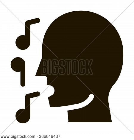 Man Silhouette Singing Song Recital Concert Glyph Icon . Microphone And Dynamic, Concert And Theater