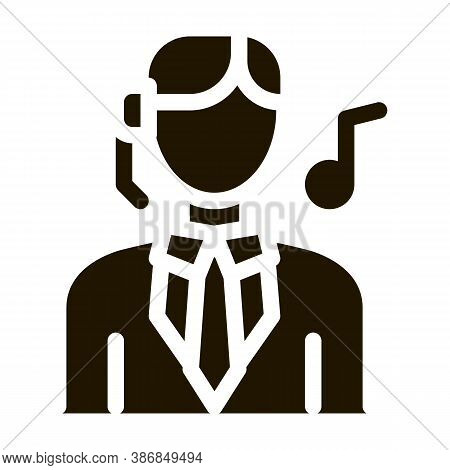 Female Silhouette Singing Song In Opera Glyph Icon . Musical Notes And Headphones, Concert, Opera An
