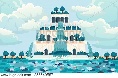 Semiramis Gardens. Hanging Gardens Of Babylon. Ancient Palace.