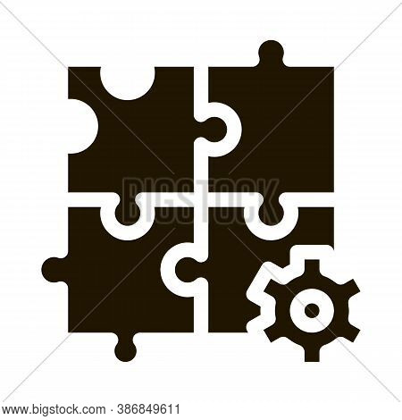 Puzzle Game And Gear Agile Element Glyph Icon . Agile Magnifier And Document, Sandglass And Package,