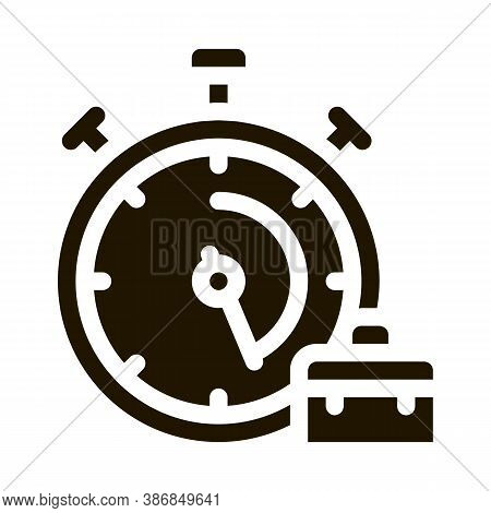 Stopwatch And Suitcase Agile Element Glyph Icon . Agile Gear And Document, Sandglass And Package, Lo