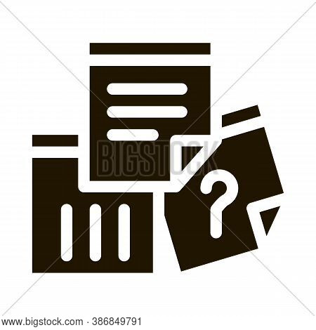 Paper Question And Exclamatory Sign Agile Glyph Icon . Agile Rocket And Document, Gear And Package,