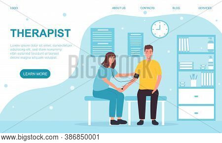 A Young Female Therapist Measuring A Man S Blood Pressure. Web Page Template. Flat Vector Illustrati