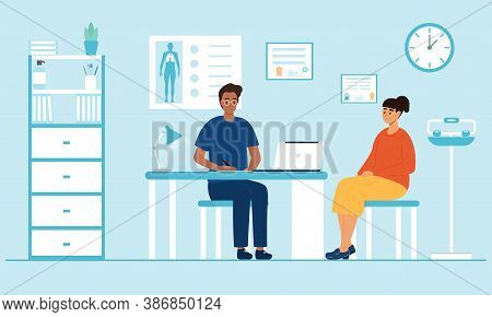 Woman Sitting At A Therapists Appointment. A Young Doctor Talking To A Patient. Flat Vector Illustra