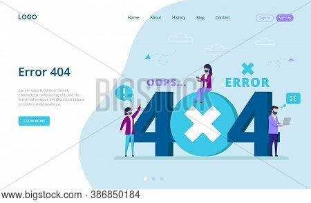 Network Error Concept. Error 404, Page Not Found Template. Cartoon Characters Using Devices Conncted