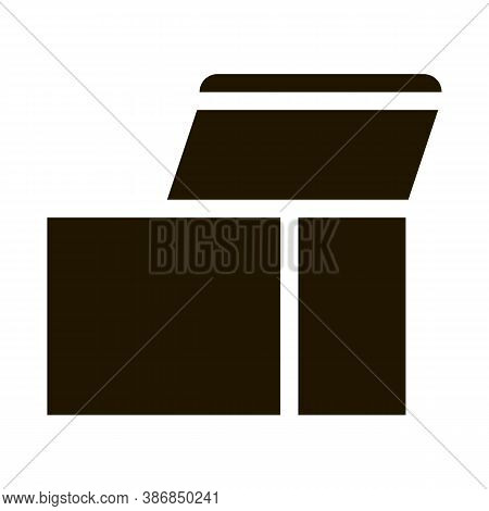 Square Opened Cardboard Carton Box Glyph Icon . Carton Open And Closed Box Packaging Pictogram. Parc