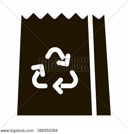 Paper Bag With Recycle Sign Packaging Glyph Icon . Open And Closed Packaging Pictogram. Parcel, Box