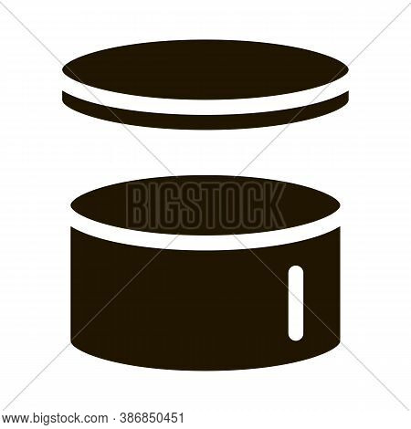 Cake Hat Round Carton Package Packaging Glyph Icon . Open And Closed Packaging Pictogram. Parcel, Bo