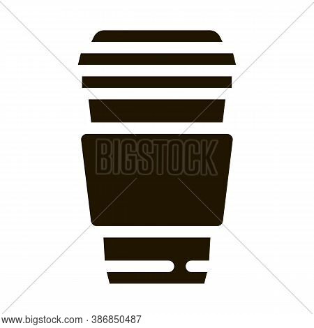 Coffee Tea Drink Cup Package Packaging Glyph Icon . Carton Open And Closed Packaging Pictogram. Parc