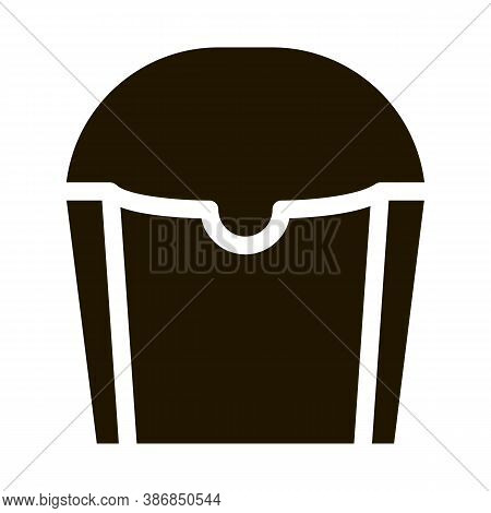 Carton Container For French Fries Packaging Glyph Icon . Carton Open And Closed Packaging Pictogram.