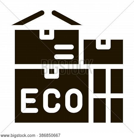 Eco Recycle Material Container Packaging Glyph Icon . Carton Open And Closed Packaging Pictogram. Pa