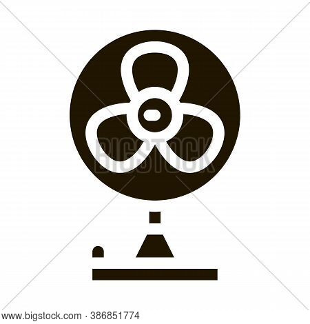 Portable Air Fan Cooling Equipment Glyph Icon . Cool And Humidity, Airing, Ionisation And Cooling Pi