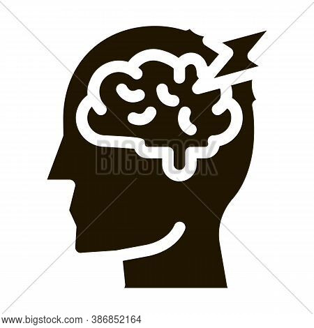 Brain Lightning Volt Silhouette Headache Glyph Icon . Tension And Cluster Headache, Migraine And Str
