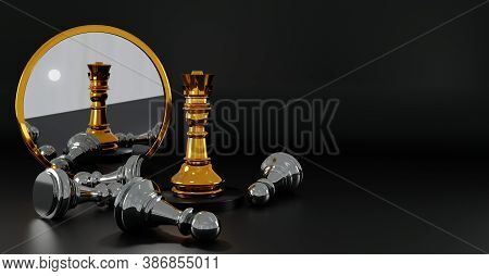 Gold Queen Chess Defeats Silver Pawns. Strategy Planning, Leadership And Teamwork. Checkmate And Win