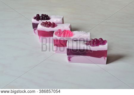 Four Pieces Of Beautiful Handmade Currant Soap, Decorated With Currant Berries