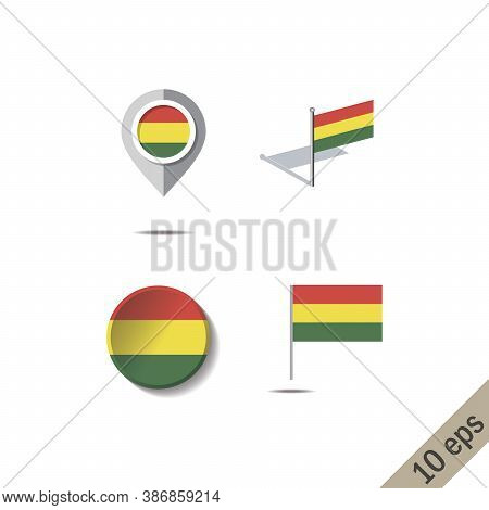 Map Pins With Flag Of Bolivia - Vector Illustration