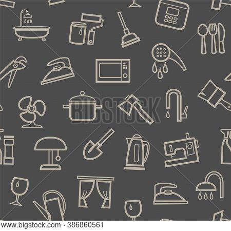 Household Goods And Appliances, Seamless Pattern, Color, Gray. Gray Icons On A Gray Field. Thin Outl