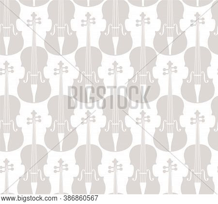 Violins, Seamless Pattern, White. Grey Violins On A White Field. Single-color, Flat Decor. Vector.