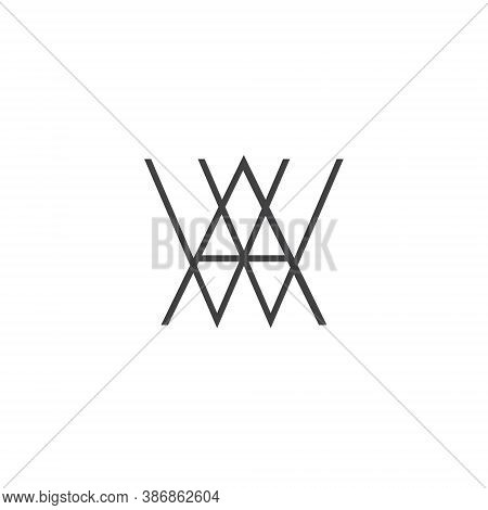 A W Letter Lettermark Logo Aw Monogram - Design Element Typeface Type Vintage Sign Emblem Typeset Co